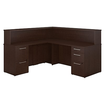Bush Business Furniture Emerge L Shaped Reception Desk with 2 and 3 Drawer Pedestals, Mocha Cherry, Installed (300S073MRFA)