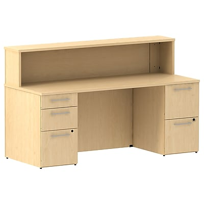 Bush Business Furniture Emerge 72W x 30D Reception Desk with 2 Pedestals, Natural Maple, Installed (300S075ACFA)