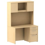 Bush Business Furniture Emerge 48W x 30D Desk with 3 Drawer Pedestal and 48W Hutch, Natural Maple, Installed (300S079ACFA)