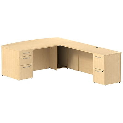 Bush Business Furniture Emerge 72W x 36D Bow Front L Shaped Desk with 2 Pedestals, Natural Maple, Installed (300S080ACFA)