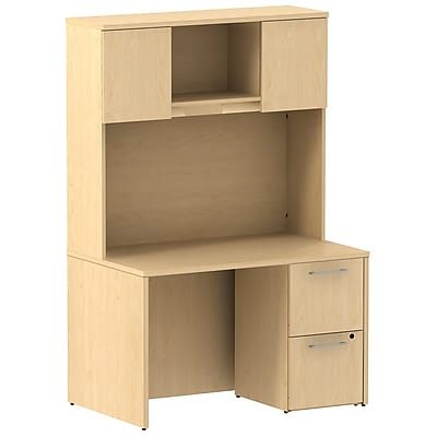 Bush Business Furniture Emerge 48W x 30D Desk w/ 2 Drawer Pedestal and 48W Hutch, Natural Maple (300S081AC)