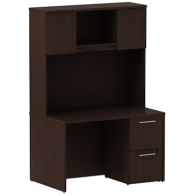 Bush Business Furniture Emerge 48W x 30D Desk with 2 Drawer Pedestal and 48W Hutch, Mocha Cherry (300S081MR)