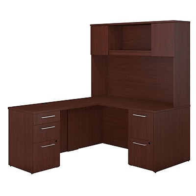 Bush Business Furniture Emerge 60W x 30D L Shaped Desk with Hutch and 2 Pedestals, Harvest Cherry (300S103CS)
