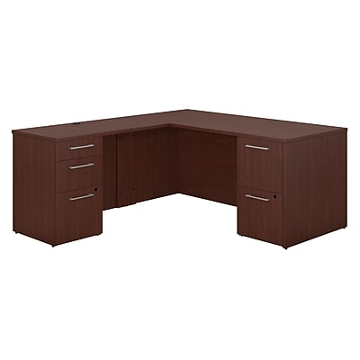 Bush Business Furniture Emerge 66W x 30D L Shaped Desk with 2 and 3 Drawer Pedestals, Harvest Cherry (300S098CS)