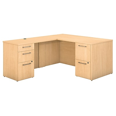 Bush Business Furniture Emerge 60W x 30D L Shaped Desk with 2 and 3 Drawer Pedestals, Natural Maple (300S096AC)