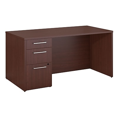 Bush Business Furniture Emerge 60W x 30D Desk with 3 Drawer Pedestal, Harvest Cherry, Installed (300S094CSFA)