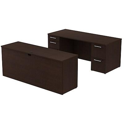 Bush Business Furniture Emerge 72W x 30D Office Desk w/ 72W Credenza and Storage, Mocha Cherry (300S022MR)
