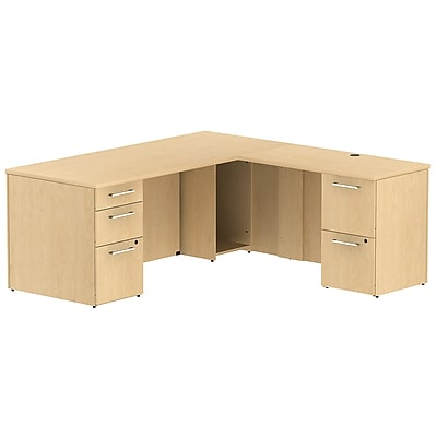 Bush Business Furniture Emerge 72W x 30D L Shaped Desk with 2 Pedestals, Natural Maple, Installed (300S025ACFA)