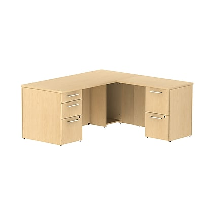 Bush Business Furniture Emerge 66W x 30D L Shaped Desk with 2 Pedestals, Natural Maple (300S026AC)