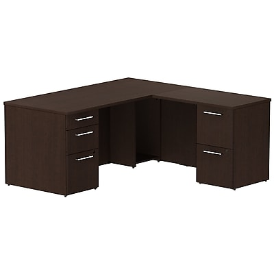 Bush Business Furniture Emerge 66W x 30D L Shaped Desk with 2 Pedestals, Mocha Cherry, Installed (300S026MRFA)