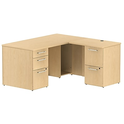 Bush Business Furniture Emerge 60W x 30D L Shaped Desk w/ 2 Pedestals, Natural Maple, Installed (300S027ACFA)