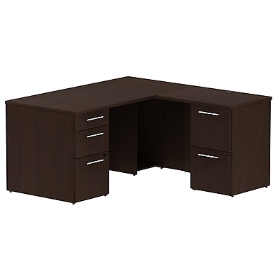 Bush Business Furniture Emerge 60W x 30D L Shaped Desk with 2 Pedestals, Mocha Cherry, Installed (300S027MRFA)