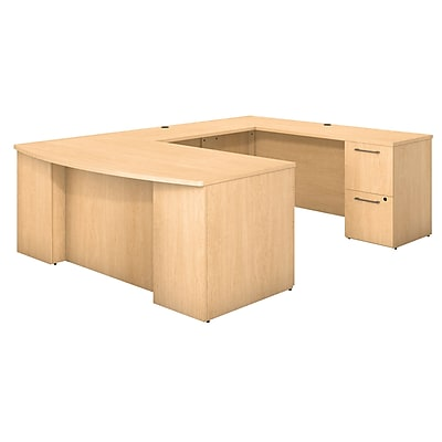 Bush Business Furniture Emerge 72W Bow Front U Shaped Desk with Pedestals, Natural Maple, Installed (300S028ACFA)