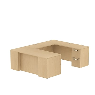 Bush Business Furniture Emerge 72W x 30D U Shaped Desk w/ 2 Pedestals, Natural Maple (300S030AC)