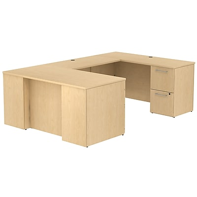 Bush Business Furniture Emerge 60W x 30D U Shaped Desk w/ 2 Pedestals, Natural Maple (300S032AC)