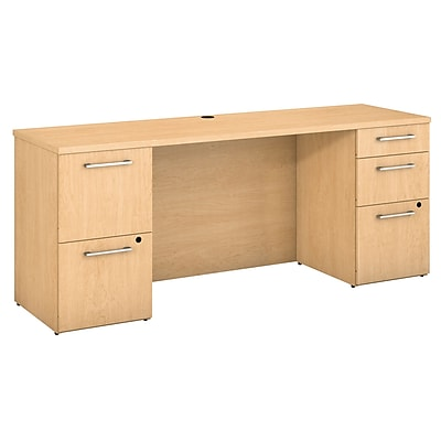 Bush Business Furniture Emerge 72W x 22D Desk w/ 2 and 3 Drawer Pedestals, Natural Maple (300S033AC)