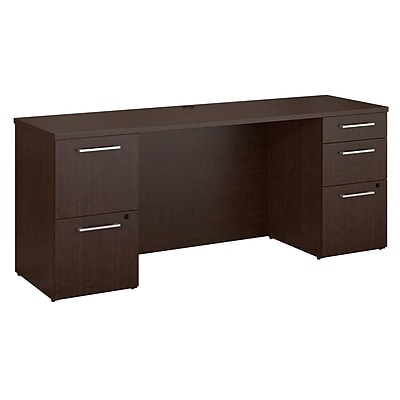 Bush Business Furniture Emerge 72W x 22D Desk with 2 and 3 Drawer Pedestals, Mocha Cherry, Installed (300S033MRFA)