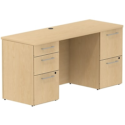 Bush Business Furniture Emerge 60W x 22D Office Desk with 2 Pedestals, Natural Maple, Installed (300S035ACFA)