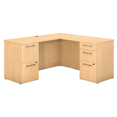 Bush Business Furniture Emerge 60W x 22D L Shaped Desk with 2 and 3 Drawer Pedestals, Natural Maple, Installed (300S038ACFA)