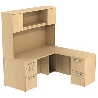 Bush Business Furniture Emerge 66W x 30D L Shaped Desk with Hutch and 2 Pedestals, Natural Maple, Installed (300S040ACFA)