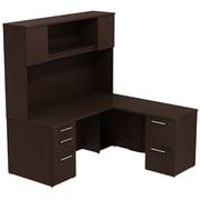 Bush Business Furniture Emerge 66W x 30D L Shaped Desk with Hutch and 2 Pedestals, Mocha Cherry (300S040MR)