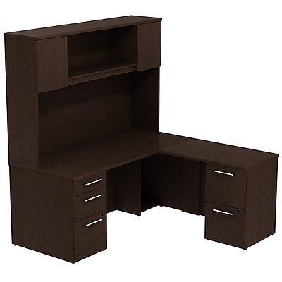 Bush Business Furniture Emerge 66W x 30D L Shaped Desk with Hutch and 2 Pedestals, Mocha Cherry, Installed (300S040MRFA)