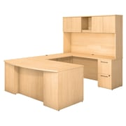 "Bush Business Furniture Emerge 72""W X 36""D Bow Front U Shaped Desk with Hutch and 2 Pedestals, Natural Maple (300S041AC)"