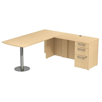 Bush Business Furniture Emerge 72W x 30D L Shaped Desk with Peninsula and 3 Drawer Pedestal, Natural Maple (300S042AC)