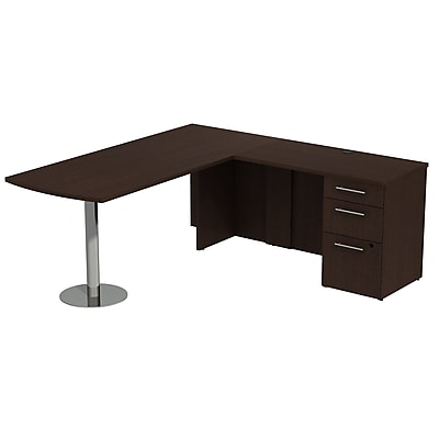 Bush Business Furniture Emerge 72W L Shaped Desk with Peninsula and 3 Drawer Pedestal, Mocha Cherry, Installed (300S042MRFA)