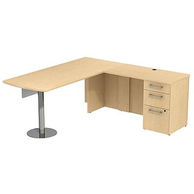Bush Business Furniture Emerge 72W L Shaped Desk with Peninsula, Panel and Pedestal, Natural Maple, Installed (300S043ACFA)