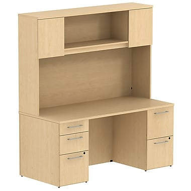 Bush 300 Series Double Pedestal Desk With 66 H Tall Hutch Natural