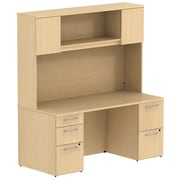 Bush Business Furniture Emerge 66W x 22D Office Desk w/ Hutch and 2 Pedestals, Natural Maple (300S044AC)