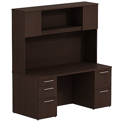 Bush Business Furniture Emerge 66W x 22D Office Desk with Hutch and 2 Pedestals, Mocha Cherry, Installed (300S044MRFA)