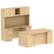 Bush Business Furniture Emerge 72W x 36D Bow Front Desk with Hutch, Credenza and 2 Pedestals, Natural Maple (300S045AC)