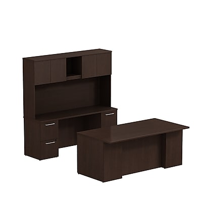 Bush Business Furniture Emerge 72W x 36D Office Desk with Hutch, Credenza and 2 Pedestals, Mocha Cherry (300S046MR)