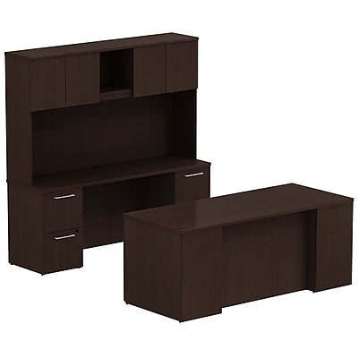 Bush Business Furniture Emerge 72W x 30D Office Desk with Hutch, Credenza and 2 Pedestals, Mocha Cherry (300S047MR)