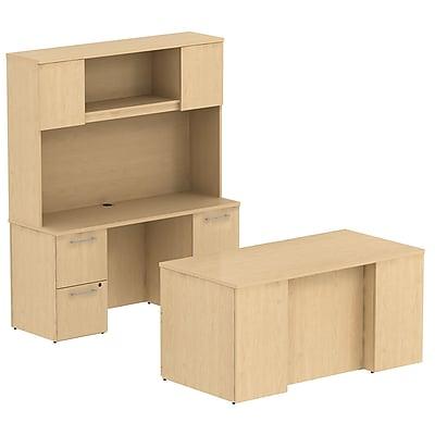 Bush Business Furniture Emerge 60W x 30D Office Desk w/ Hutch, Credenza and 2 Pedestals, Natural Maple (300S049AC)
