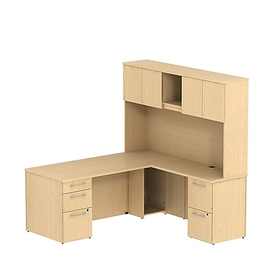 Bush Business Furniture Emerge 72W x 30D L Shaped Desk w/ Hutch and 2 Pedestals, Natural Maple (300S050AC)