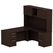 Bush Business Furniture Emerge 72W x 30D L Shaped Desk w/ Hutch and 2 Pedestals, Mocha Cherry, Installed (300S050MRFA)