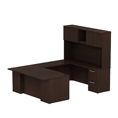 Bush Business Furniture Emerge 72W x 36D U Shaped Desk w/ Hutch and 2 Pedestals, Mocha Cherry (300S054MR)