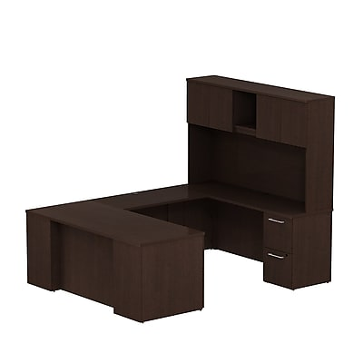 Bush Business Furniture Emerge 72W x 30D U Shaped Desk w/ Hutch and 2 Pedestals, Mocha Cherry (300S055MR)