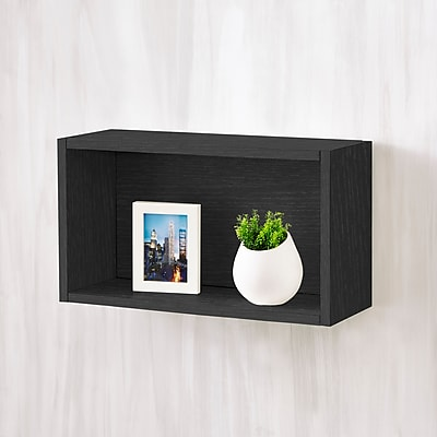 Way Basics Eco-Friendly Wall Rectangle Floating Shelf, Black Wood Grain