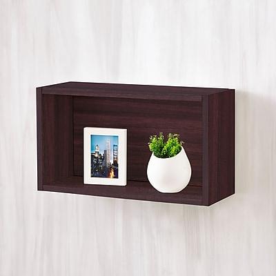 Way Basics Eco-Friendly Wall Rectangle Floating Shelf, Espresso Wood Grain