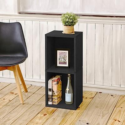 Way Basics Eco-Friendly 2 Shelf Narrow Bookcase Storage Shelf, Black Wood Grain