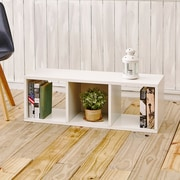 "Way Basics 37.5""W 3-Cubby Stackable Storage Bench Modern Eco Organizer, White (BS-CB-1-WE)"