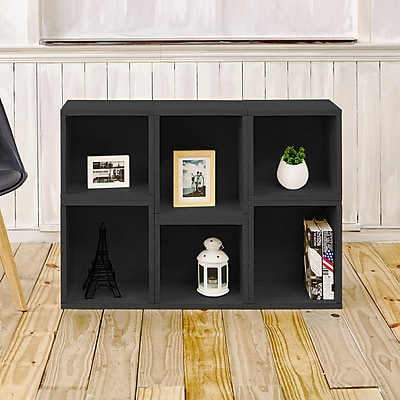 Way Basics Eco-Friendly 6 Stackable Arlington Storage Cubes, Black Wood Grain