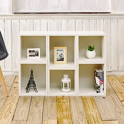 Way Basics Eco-Friendly 6 Stackable Arlington Storage Cubes, White