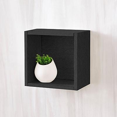 Way Basics Eco-Friendly Wall Cube Floating Shelf, Black Wood Grain