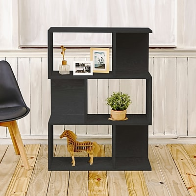 Way Basics Eco-Friendly 3 Shelf Madison Bookcase, Room Divider, Storage Shelf, Black Wood Grain