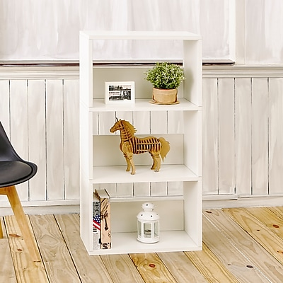 Way Basics Eco 3 Shelf Triplet Bookcase and Storage Shelf, White